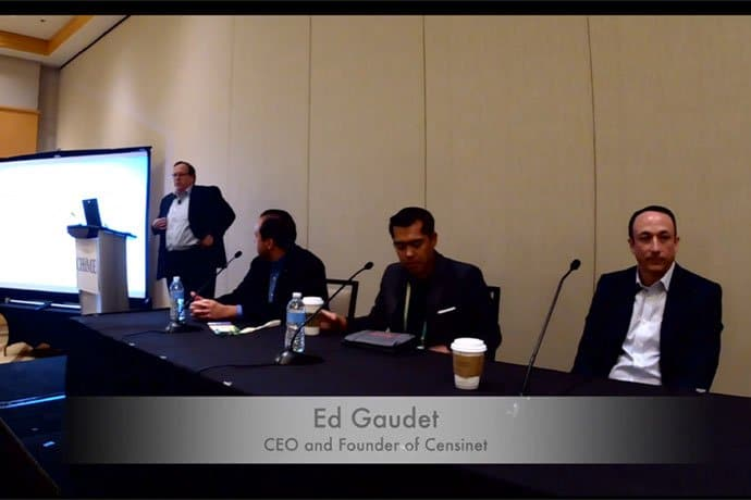 Censinet CEO and founder, Ed Gaudet moderated a panel at the event which sought to discuss the current third-party risk landscape and the effects the healthcare industry is feeling as the result of technological advancements.